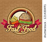 burger with fries  menu fast... | Shutterstock .eps vector #121430491