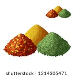 dried spices isolated on white... | Shutterstock . vector #1214305471