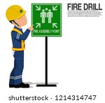 a worker is presenting the fire ... | Shutterstock .eps vector #1214314747