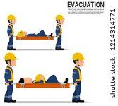 two workers is lifting  the... | Shutterstock .eps vector #1214314771