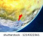 benin on model of planet earth... | Shutterstock . vector #1214322361