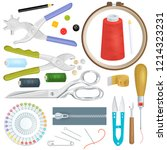 sewing vector tailor tools sew... | Shutterstock .eps vector #1214323231