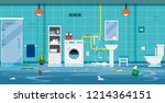 flood in the toilet caused by... | Shutterstock .eps vector #1214364151