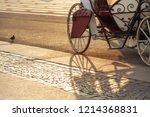 an old white carriage with... | Shutterstock . vector #1214368831