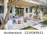 luxury private villa terrace...   Shutterstock . vector #1214369611