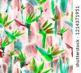 pastel tropical jungle flowers  ...   Shutterstock . vector #1214371951