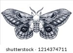 hand drawn butterfly tattoo.... | Shutterstock .eps vector #1214374711