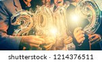 group of party people... | Shutterstock . vector #1214376511
