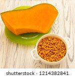 pumpkin and sea buckthorn... | Shutterstock . vector #1214382841