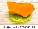 pampkin on the green plate | Shutterstock . vector #1214383174