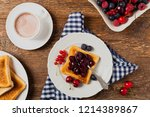 breakfast. toasts with cherry... | Shutterstock . vector #1214389867