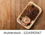 roasted whole  stuffed with... | Shutterstock . vector #1214392567