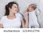 top view of mother and her... | Shutterstock . vector #1214412754