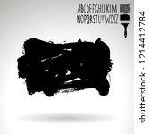 black brush stroke and...   Shutterstock .eps vector #1214412784