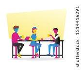 little conversation team in co... | Shutterstock .eps vector #1214416291
