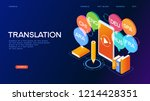 concept of translating and... | Shutterstock .eps vector #1214428351