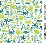 sea life. jellyfish  crab ... | Shutterstock . vector #1214428354