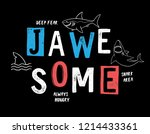 hand drawn shark theme vector... | Shutterstock .eps vector #1214433361