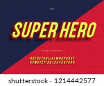 vector bold super hero font... | Shutterstock .eps vector #1214442577