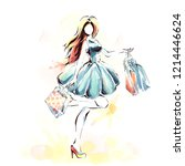 watercolor painting  fashion...   Shutterstock .eps vector #1214446624