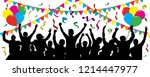 crowd of fun people on party ... | Shutterstock .eps vector #1214447977