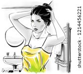 fashion illustration with black ...   Shutterstock . vector #1214456221