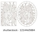 set of contour illustrations of ... | Shutterstock .eps vector #1214465884