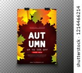 autumn sale poster with leaves   Shutterstock .eps vector #1214466214