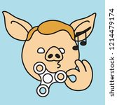 emoji with pig boy that is... | Shutterstock .eps vector #1214479174