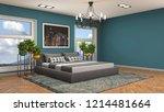 bedroom interior. 3d... | Shutterstock . vector #1214481664
