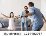 happy couple and small daughter ... | Shutterstock . vector #1214482057