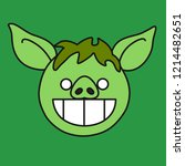 emoji with green grinning... | Shutterstock .eps vector #1214482651