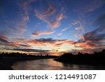 dusking sky in the countryside. | Shutterstock . vector #1214491087