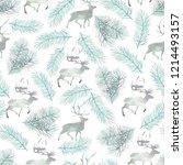 seamless pattern with deer.... | Shutterstock . vector #1214493157
