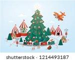 christmas town template vector... | Shutterstock .eps vector #1214493187