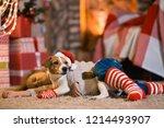 merry christmas. little girl... | Shutterstock . vector #1214493907