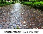 Wet Cobble Stone Path In Parco...