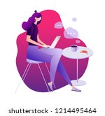 a girl sitting at cafe working... | Shutterstock .eps vector #1214495464