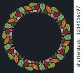 christmas hand drawn wreath... | Shutterstock .eps vector #1214516197