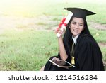 happy graduate young asian... | Shutterstock . vector #1214516284