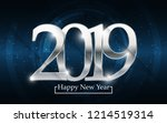 silver 2019 happy new year with ... | Shutterstock .eps vector #1214519314
