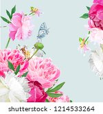 a picturesque peony flower....   Shutterstock .eps vector #1214533264