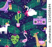 seamless pattern with cute... | Shutterstock .eps vector #1214535694
