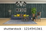 interior of the living room. 3d ... | Shutterstock . vector #1214541361