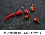 red hot cayenne peppers on dark ... | Shutterstock . vector #1214549941