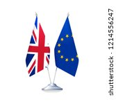 brexit concept. flags of great... | Shutterstock .eps vector #1214556247