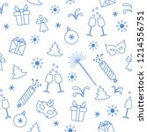 seamless pattern with new year... | Shutterstock .eps vector #1214556751