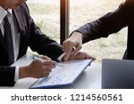 businessman consult with... | Shutterstock . vector #1214560561