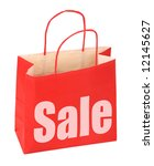shopping bag with red sale sign on white background, photo does not infringe any copyright - stock photo