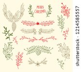 light merry christmas floral... | Shutterstock .eps vector #1214585557